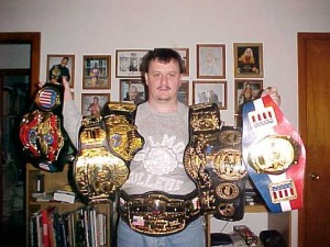 Living the belt-mark dream: Millican shows off some of his collection.