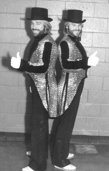 Sharp-dressed men: The Fabs sporting their treasured sequined jackets--decidedly flashier than my red silk-satin Fabs jacket.